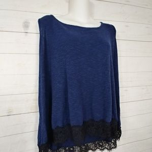 Bobeau Lace Trimmed Tank Top  Size XL  Navy